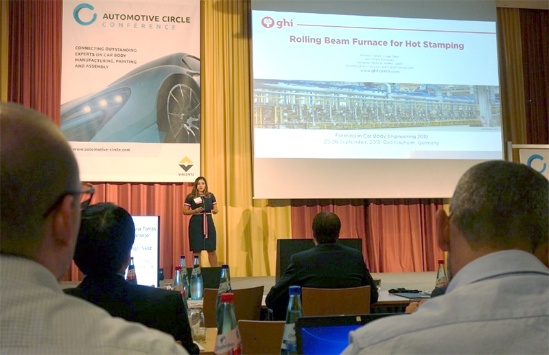 "GHI Smart Furnaces presentó una ponencia sobre el horno de vigas rodantes para estampación en caliente en la Conferencia ""Forming in Car Body Engineering"" en Alemania."