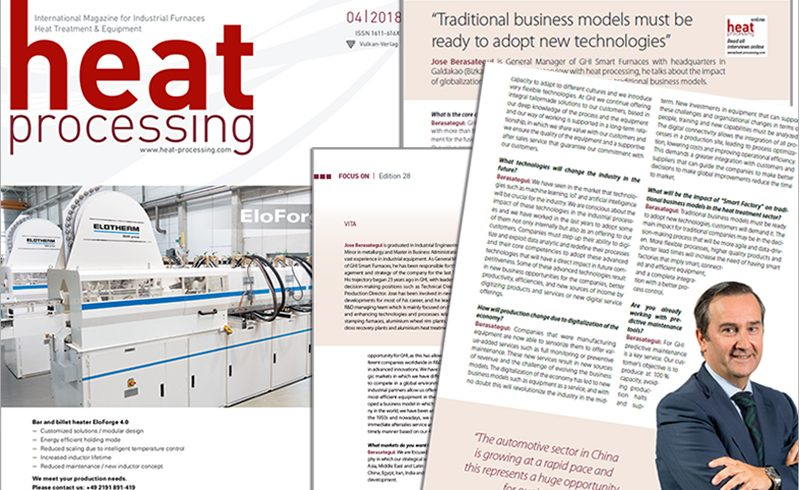 Jose Berasategui, General Manager of GHI Smart Furnaces, interviewed in Heat processing magazine