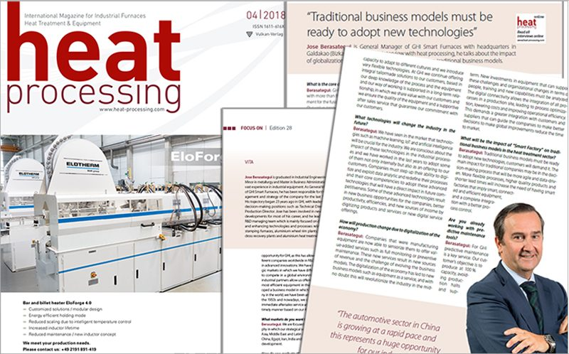 "Entrevista a Jose Berasategui, director general de GHI Smart Furnaces, en la revista ""Heat Processing"""